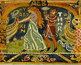 Hyrrokkin - Hyrrokkin pushes the ship, angering Thor. Illustration by Emil Doepler, ca. 1905.