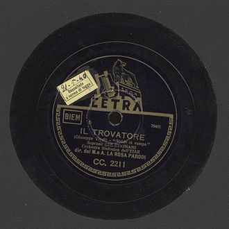 Cetra Records - Image of a 78rpm of an aria from Giuseppe Verdi's Il trovatore, recorded by Cetra