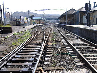 Bray Daly railway station - Distinctive outline of Bray Head in the background
