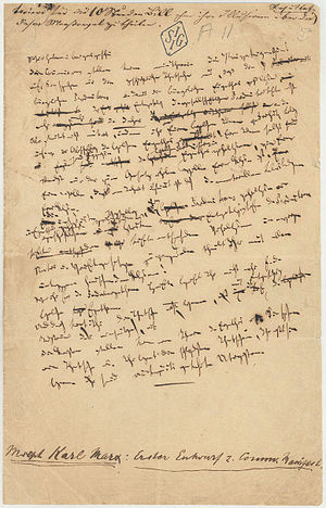 The Communist Manifesto - Only surviving page from the first draft of the Manifesto, handwritten by Marx