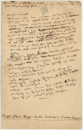 The Communist Manifesto - Only surviving page from the first draft of the Manifesto, handwritten by Karl Marx