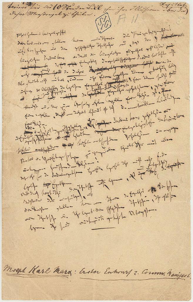 Hoja manuscrita del Manifiesto comunista.