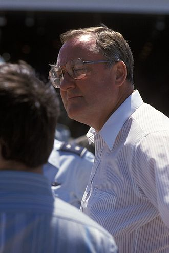 James R. Thompson - Governor Thompson observing a military exercise, July 1986