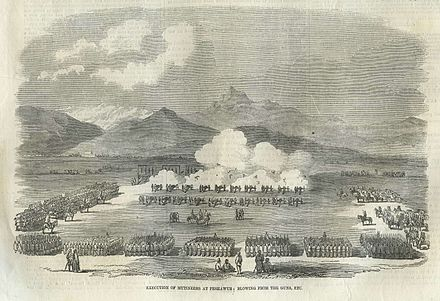 Execution of mutineers at Peshawur - Indian Rebellion of 1857