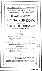 Premiéra Dvořákova klavírního koncertu g moll op.33 v úpravě Viléma Kurze  9.prosince 1919, Ilona Kurzová, Česká filharmonie pod vedením Václava Talicha