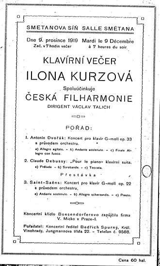 Czech Philharmonic - Programme including Antonín Dvořák's Piano Concerto in G minor  op.33, Czech Philharmonic conducted by Václav Talich