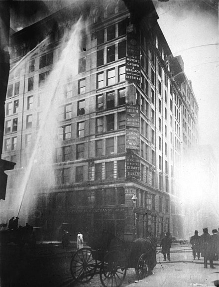 The Triangle Shirtwaist Factory fire in 1911. The victims were almost exclusively Jewish and Italian female immigrants Image of Triangle Shirtwaist Factory fire on March 25 - 1911.jpg