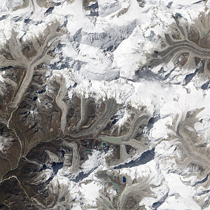 Lhotse Shar Glacier - The glacier is located to the northeast of the rounder Imja Tsho lake shown south of centre