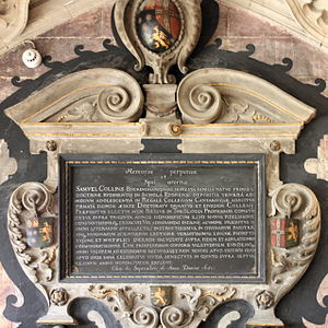 Samuel Collins (theologian) - Commemorative plaque to Samuel Collins in King's College Chapel.