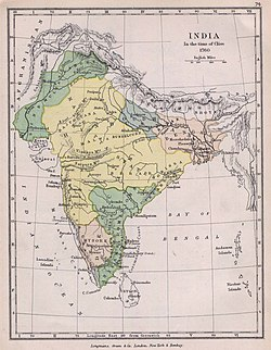 Territory under Maratha control in 1760 (yellow), without its vassals.