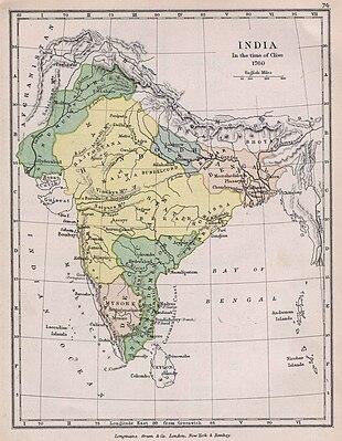 Indien zur Zeit von Robert Clive um 1760. Staatsgebilde und Einflussgebiet der Marathen sind gelb dargestellt