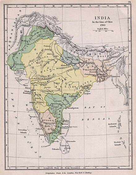 Map of India in 1760. The southern area in green was ruled by the Nizam. India1760 1905.jpg