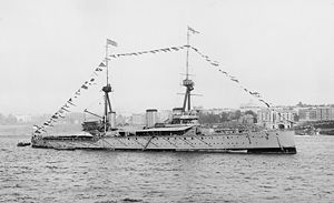 HMS Inflexible (1907) - Inflexible in New York City, 1909