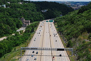 High-occupancy vehicle lane - Dedicated reversible  HOV lanes on Interstate 279 outside Pittsburgh.