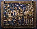 Iran, teheran, mattonella decorativa con un episodio dello sahname di ferdowsi, combattim. di rustam e il diavoli bianchi, xix secolo.jpg