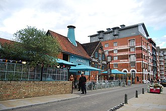 Ipswich Waterfront - Isaacs on the Quay, a former malt kiln transformed into the largest pub in Ipswich. Adjacent to Isaacs is the Salthouse Harbour Hotel