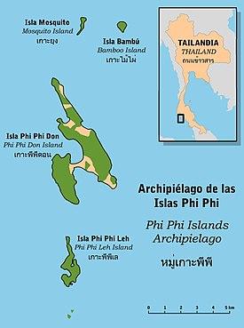Islas De Tailandia Mapa.Phi Phi Wikipedia La Enciclopedia Libre