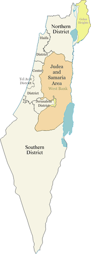 Map of the districts of Israel