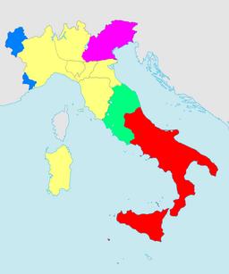 Penisola italiana nel marzo del 1860 (restano visibili i confini del 1859)