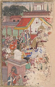 Jahangir investing a courtier with a robe of honour watched by Sir Thomas Roe, English ambassador to the court of Jahangir at Agra from 1615-18, and others