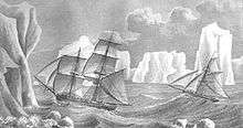 Stylized drawing of two sailing ships caught in rough seas, surrounded by towering icebergs.