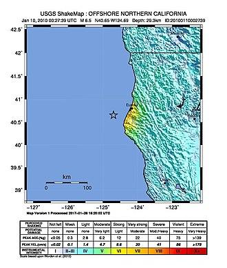 2010 Eureka earthquake - Image: January 2010 Eureka earthquake intensity USGS