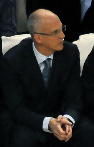 Jay Triano - Jay Triano with the Raptors' coaching staff in November 2009.