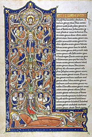 Genealogy of Jesus - Patrilineage in Matthew was traditionally illustrated by a Tree of Jesse showing the descent of Jesus from Jesse, father of King David