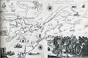 Jean de Brébeuf - Bressani map of 1657 depicts the martyrdom of Jean de Brébeuf and Gabriel Lalemant