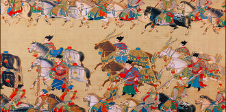 Embroidered Uniform Guard - High ranking Jinwiyei escorting the Emperor's prized horses during imperial parade.