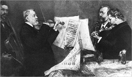 The Joachim Quartet, led by violinist Joseph Joachim. The quartet debuted many of the works of Johannes Brahms. JoachimQuartet.jpg