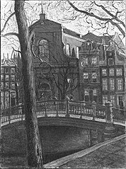 View of the Prinsengracht with the church called 'De Duif'