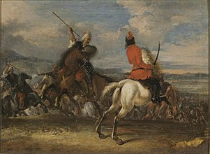 Battle Scene with a White Horse