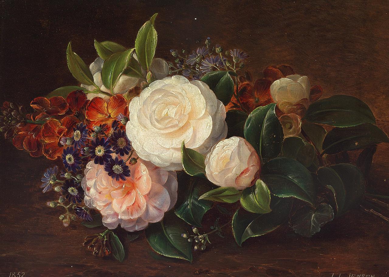 Johan Laurentz Jensen - Opstilling med roser i skovbunden - 1852.png