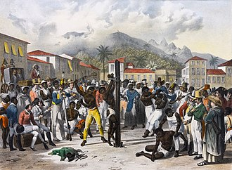 Public flogging of a slave in 19th-century Brazil. Johann Moritz Rugendas in Brazil 2.jpg