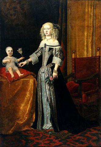 Landgravine Elisabeth Amalie of Hesse-Darmstadt - Elisabeth Amalie, probably with her eldest daughter Eleonore, around 1655