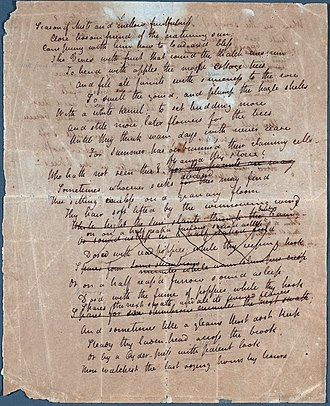 To Autumn - Image: John Keats To Autumn Manuscript 1 unrestored