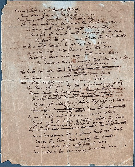 The literary elements in ode to autumn a poem by john keats