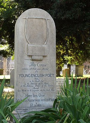John Keats' tombstone. He died on 23 February ...