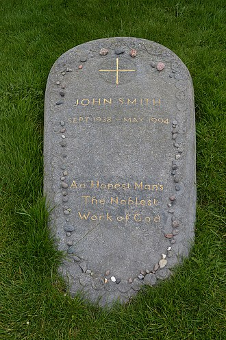 John Smith (Labour Party leader) - Gravestone of John Smith on the island of Iona, Scotland. The epitaph is from An Essay On Man by Alexander Pope.