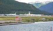 Alaska Airlines flight moments after landing at Juneau International Airport.