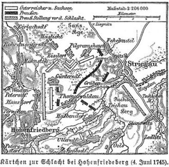 Battle of Hohenfriedberg - Map of the Battle