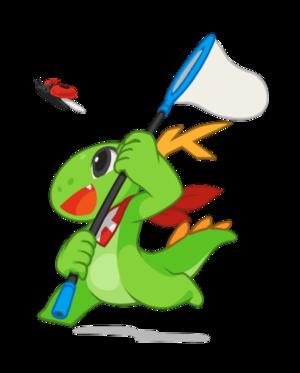 KDbg - KDE mascot Konqi debugging.