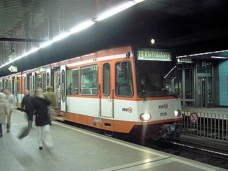 Cologne Stadtbahn - Appellhofplatz/Breite Straße station before renovation with a train