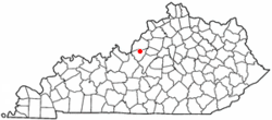 Location of Pioneer Village, Kentucky