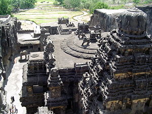 Ellora Caves - Cave 16 of the Kailasanatha Temple, viewed from the top of the rock