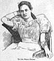 Kaiulani seated in wicker chair with right hand behind her head, newspaper illustration from Hopkinsville Kentuckian, 1899.jpg