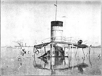 Russian gunboat Korietz - Wreck of Korietz after being scuttled, January 1905