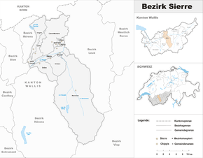 Karte von Beziak Siders District de Sierre Bezirk Siders