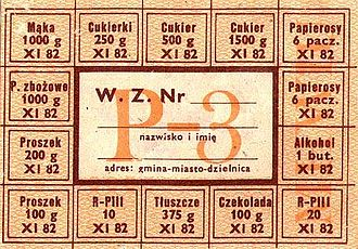 Martial law in Poland - Food, alcohol, and cigarettes rationing card